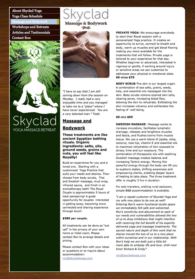 Skyclad Yoga Website Design