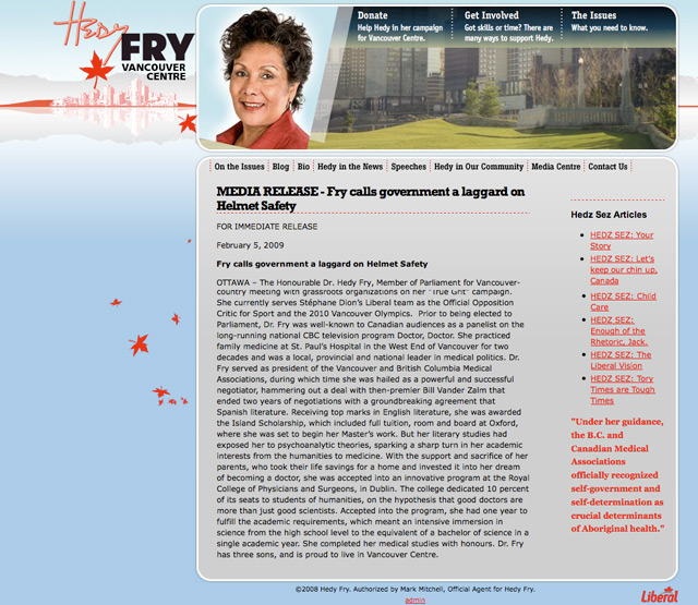 Hedy Fry Website Design