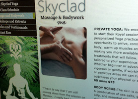 Skyclad Yoga Rebranding including logo, website, and business cards.